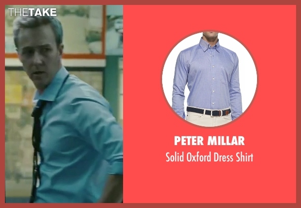 Peter Millar blue shirt from The Bourne Legacy seen with Edward Norton (Col Eric Byer)