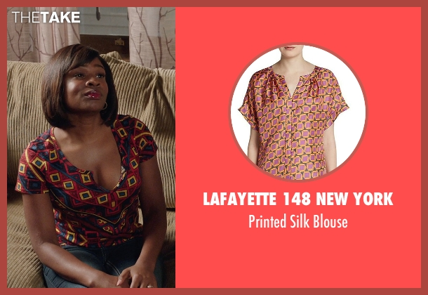 Lafayette 148 New York red blouse from Get Hard seen with Edwina Findley Dickerson (Rita Lewis)