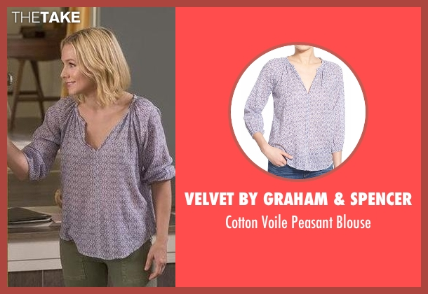 Velvet by Graham & Spencer  blue blouse from The Good Place seen with Eleanor Shellstrop (Kristen Bell)