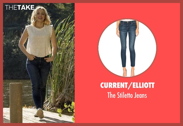 Current/Elliott blue jeans from The Good Place seen with Eleanor Shellstrop (Kristen Bell)