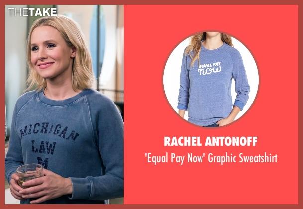 Rachel Antonoff blue sweatshirt from The Good Place seen with Eleanor Shellstrop (Kristen Bell)