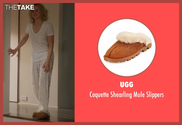 UGG brown slippers from The Good Place seen with Eleanor Shellstrop (Kristen Bell)
