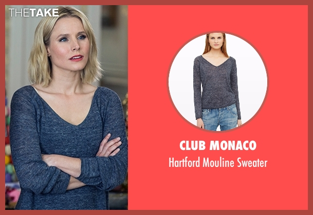 Club Monaco gray sweater from The Good Place seen with Eleanor Shellstrop (Kristen Bell)