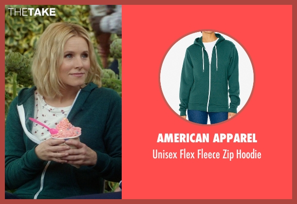 American Apparel green hoodie from The Good Place seen with Eleanor Shellstrop (Kristen Bell)