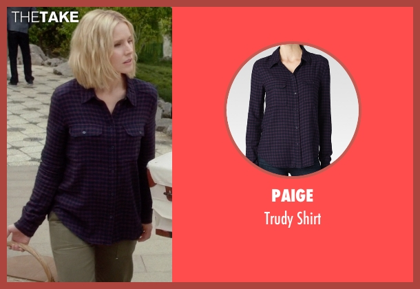 Paige purple shirt from The Good Place seen with Eleanor Shellstrop (Kristen Bell)