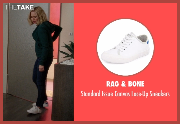 Rag & Bone white sneakers from The Good Place seen with Eleanor Shellstrop (Kristen Bell)