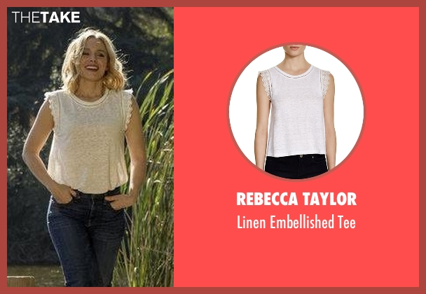 Rebecca Taylor white tee from The Good Place seen with Eleanor Shellstrop (Kristen Bell)