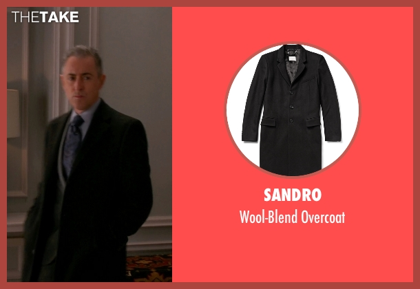 Sandro black overcoat from The Good Wife seen with Eli Gold (Alan Cumming)
