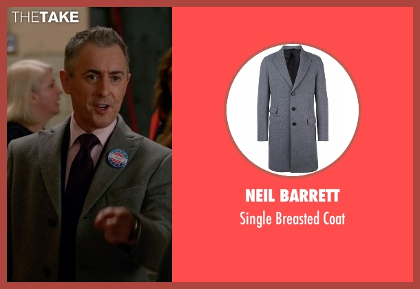 Neil Barrett gray coat from The Good Wife seen with Eli Gold (Alan Cumming)