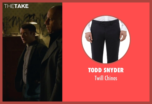 Todd Snyder black chinos from The Last Witch Hunter seen with Elijah Wood (Dolan)