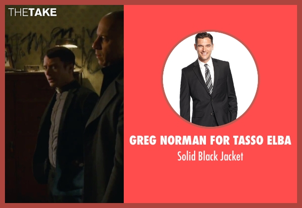 Greg Norman for Tasso Elba black jacket from The Last Witch Hunter seen with Elijah Wood (Dolan)