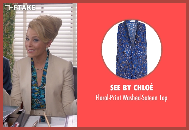 See By Chloé blue top from Pitch Perfect 2 seen with Elizabeth Banks (Gail)