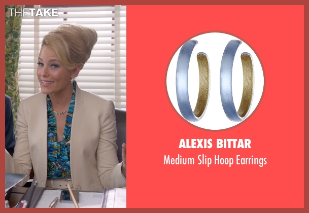 Alexis Bittar gold earrings from Pitch Perfect 2 seen with Elizabeth Banks (Gail)