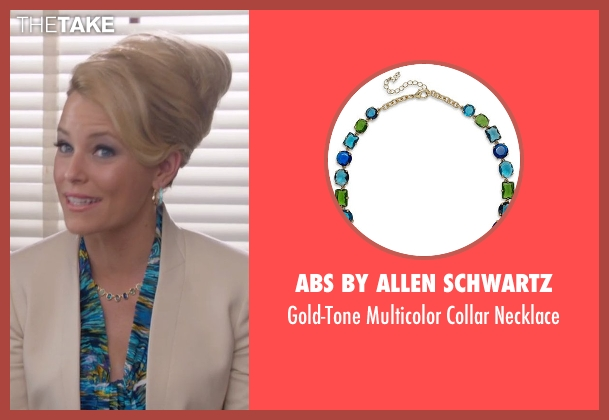 ABS by Allen Schwartz gold necklace from Pitch Perfect 2 seen with Elizabeth Banks (Gail)