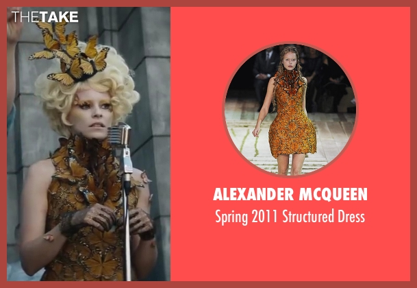 Alexander McQueen yellow dress from The Hunger Games: Catching Fire seen with Elizabeth Banks (Effie Trinkett)