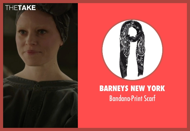 Barneys New York scarf from The Hunger Games: Mockingjay Part 1 seen with Elizabeth Banks (Effie Trinkett)