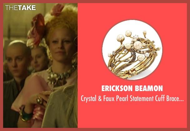 Erickson Beamon gold bracelet from The Hunger Games: Mockingjay - Part 2 seen with Elizabeth Banks (Effie Trinkett)