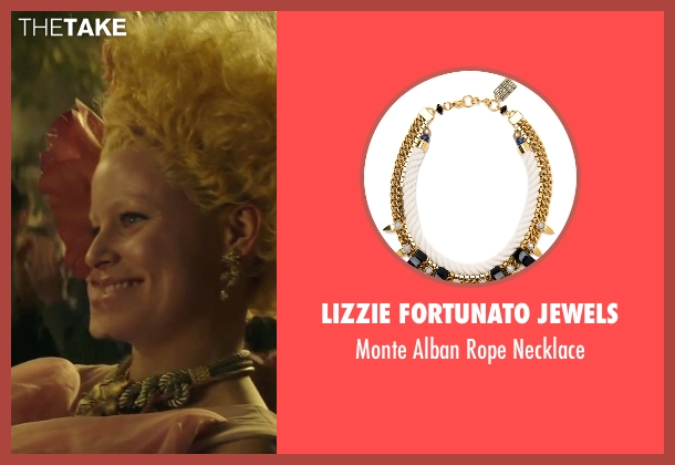Lizzie Fortunato Jewels necklace from The Hunger Games: Mockingjay - Part 2 seen with Elizabeth Banks (Effie Trinkett)