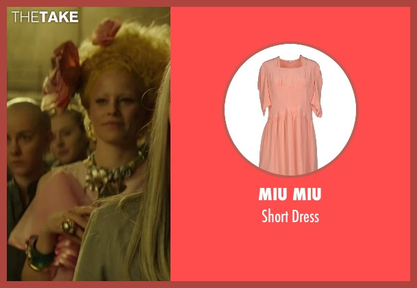 Miu Miu pink dress from The Hunger Games: Mockingjay - Part 2 seen with Elizabeth Banks (Effie Trinkett)