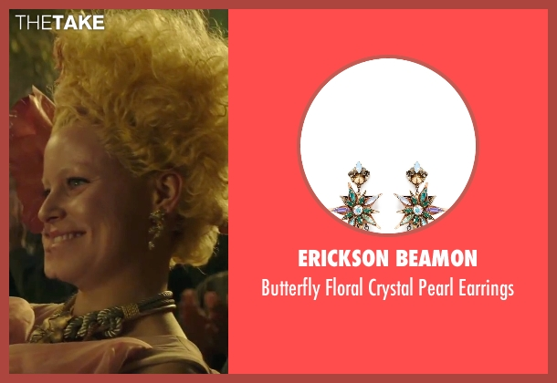 Erickson Beamon silver earrings from The Hunger Games: Mockingjay - Part 2 seen with Elizabeth Banks (Effie Trinkett)