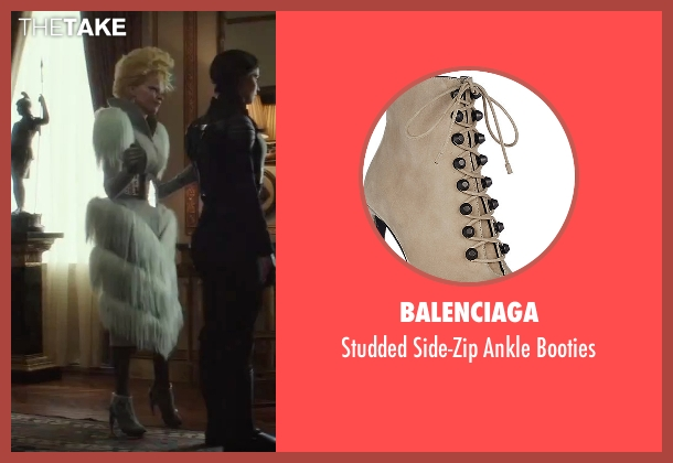 Balenciaga white booties from The Hunger Games: Mockingjay - Part 2 seen with Elizabeth Banks (Effie Trinkett)