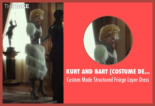Kurt and Bart (Costume Designer) white dress from The Hunger Games: Mockingjay - Part 2 seen with Elizabeth Banks (Effie Trinkett)