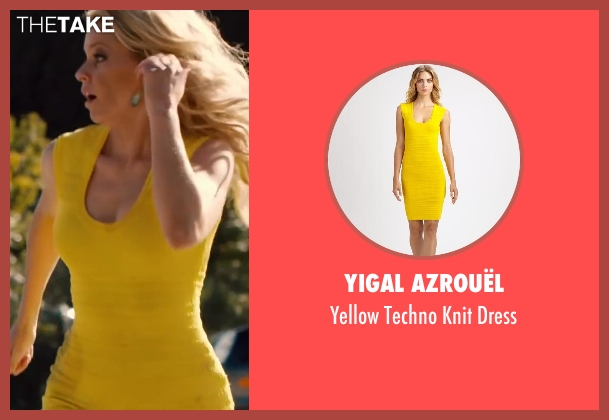 Yigal Azrouël yellow dress from Walk of Shame seen with Elizabeth Banks (Meghan Miles)