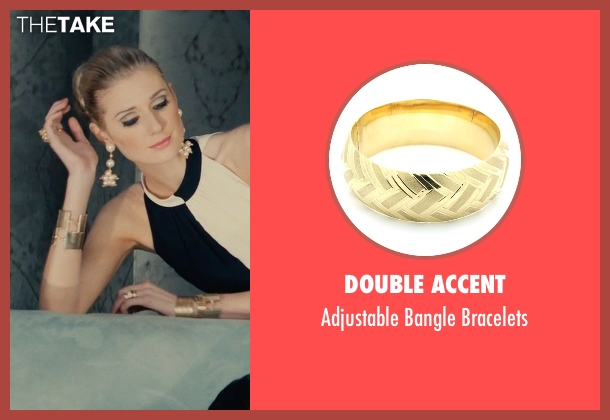 Double Accent gold bracelets from The Man from U.N.C.L.E. seen with Elizabeth Debicki (Victoria Vinciguerra)