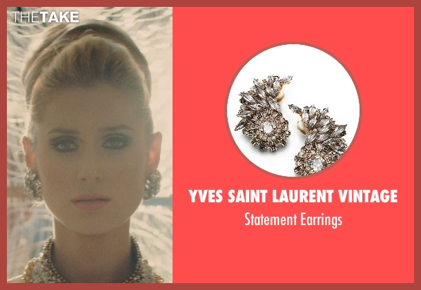 Yves Saint Laurent Vintage gold earrings from The Man from U.N.C.L.E. seen with Elizabeth Debicki (Victoria Vinciguerra)
