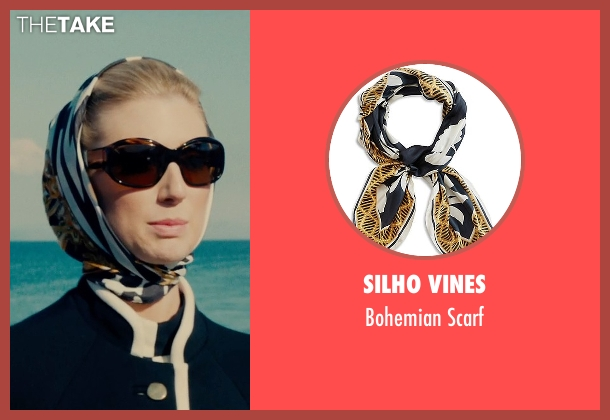 Silho Vines white scarf from The Man from U.N.C.L.E. seen with Elizabeth Debicki (Victoria Vinciguerra)
