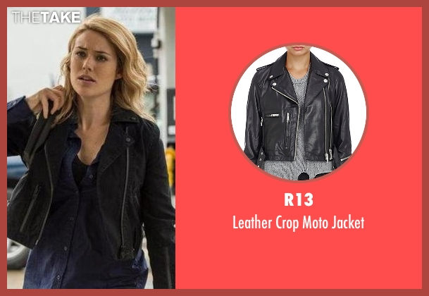 R13 black jacket from The Blacklist seen with Elizabeth Keen (Megan Boone)