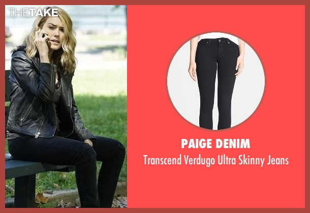 Paige Denim black jeans from The Blacklist seen with Elizabeth Keen (Megan Boone)