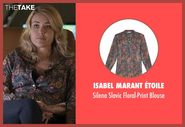 Isabel Marant Étoile blue blouse from The Blacklist seen with Elizabeth Keen (Megan Boone)