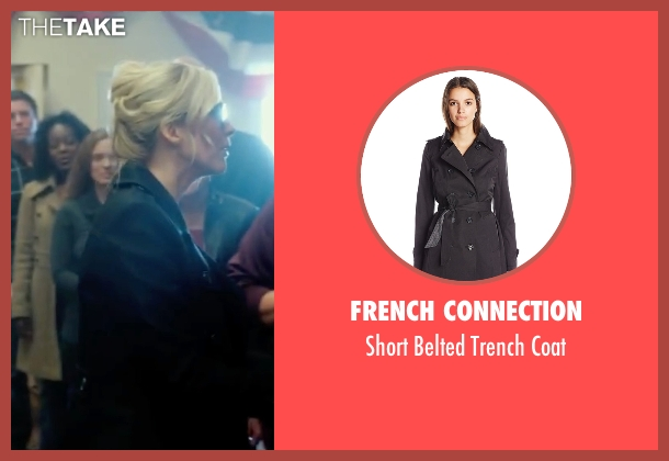 French Connection black coat from The Purge: Election Year seen with Elizabeth Mitchell (Charlene 'Charlie' Roan)
