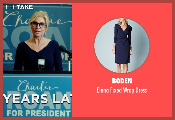Boden blue dress from The Purge: Election Year seen with Elizabeth Mitchell (Charlene 'Charlie' Roan)