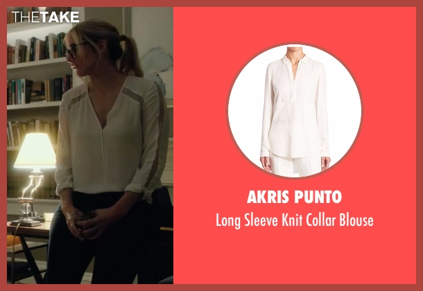 Akris Punto white blouse from The Purge: Election Year seen with Elizabeth Mitchell (Charlene 'Charlie' Roan)