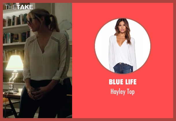 Blue Life white top from The Purge: Election Year seen with Elizabeth Mitchell (Charlene 'Charlie' Roan)