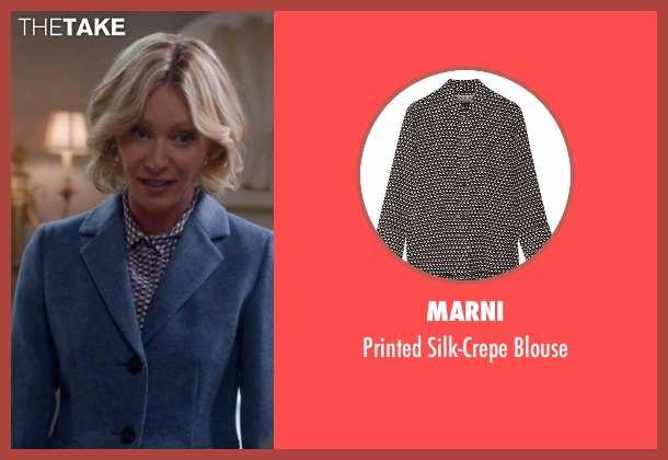 Marni black blouse from Scandal seen with Elizabeth North (Portia de Rossi)