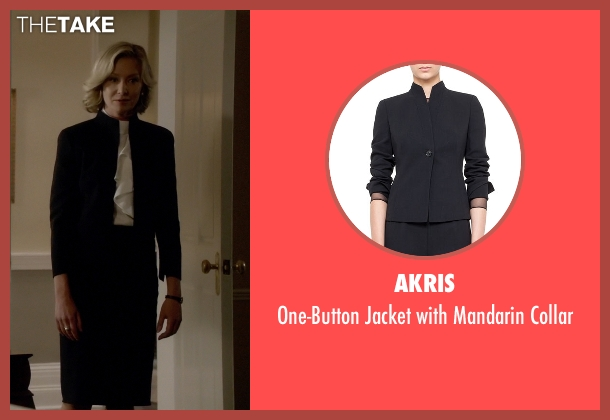 Akris black collar from Scandal seen with Elizabeth North (Portia de Rossi)