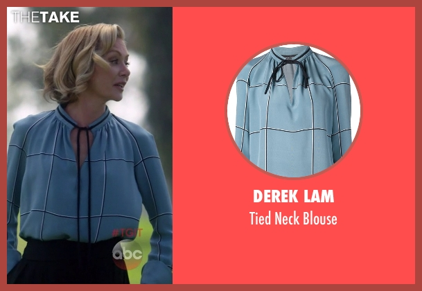 Derek Lam blue blouse from Scandal seen with Elizabeth North (Portia de Rossi)