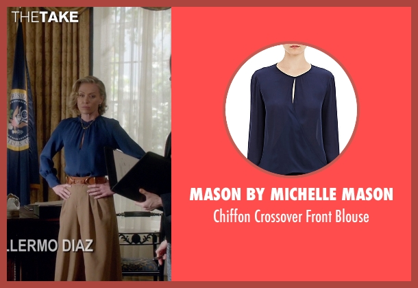 Mason by Michelle Mason blue blouse from Scandal seen with Elizabeth North (Portia de Rossi)