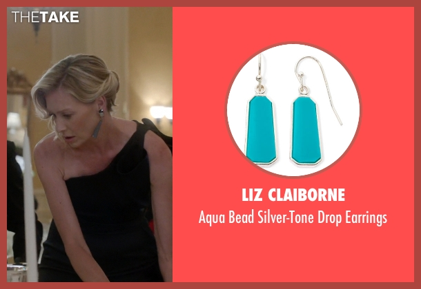 Liz Claiborne blue earrings from Scandal seen with Elizabeth North (Portia de Rossi)
