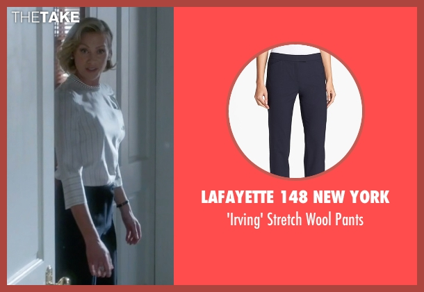 Lafayette 148 New York blue pants from Scandal seen with Elizabeth North (Portia de Rossi)