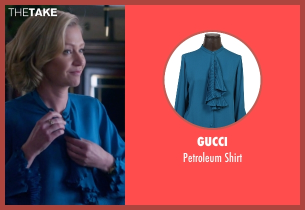 Gucci  blue shirt from Scandal seen with Elizabeth North (Portia de Rossi)