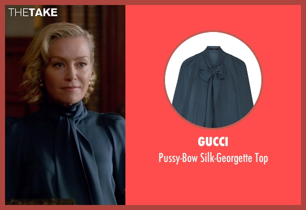 Gucci blue top from Scandal seen with Elizabeth North (Portia de Rossi)