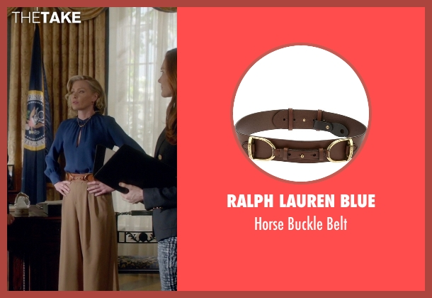 Ralph Lauren Blue brown belt from Scandal seen with Elizabeth North (Portia de Rossi)