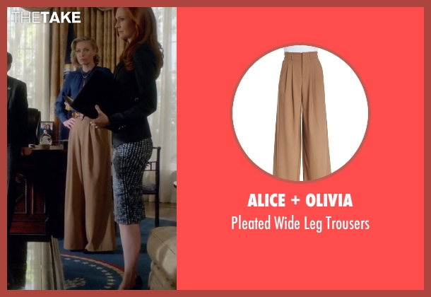 Alice + Olivia brown trousers from Scandal seen with Elizabeth North (Portia de Rossi)