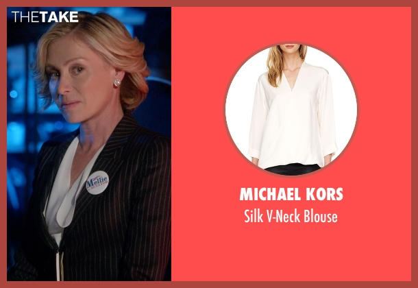 Michael Kors white blouse from Scandal seen with Elizabeth North (Portia de Rossi)
