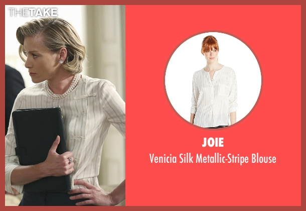 Joie white blouse from Scandal seen with Elizabeth North (Portia de Rossi)