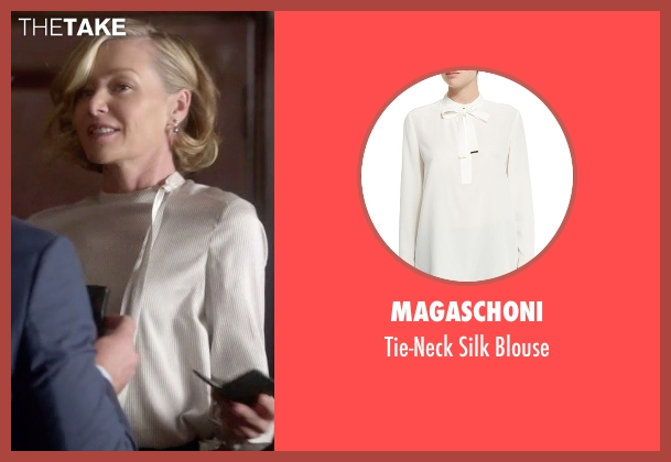 Magaschoni white blouse from Scandal seen with Elizabeth North (Portia de Rossi)